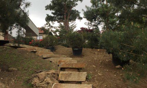 Práce s kamenem, výsadby